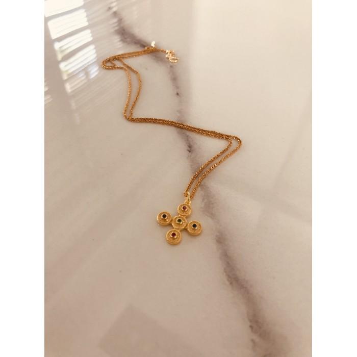 Χρυσά κολιέ PAGERI με βυζαντινό σταυρό