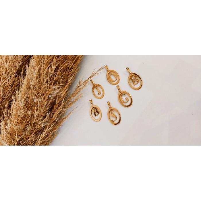 Χρυσό κολιέ με μονόγραμμα ή ζώδιο
