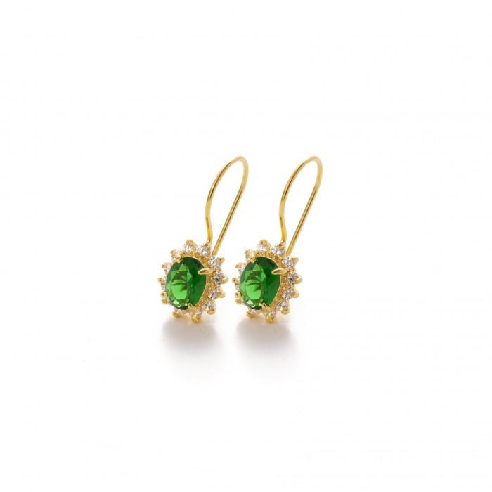Xρυσό σκουλαρίκι  PAGERI πράσινη ροζέτα